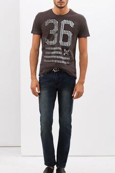 T-shirt con stampa lettering , Grigio scuro, hi-res