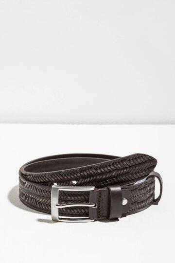 Smooth leather belt, Brown, hi-res