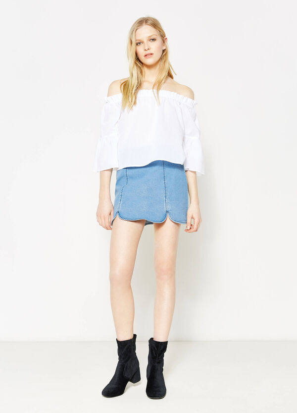 High-waisted skirt in stretch denim | OVS