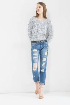 Jeans girlfriend con strappi, Blu chiaro, hi-res
