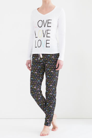 V-neck pyjamas in 100% cotton, White/Black, hi-res