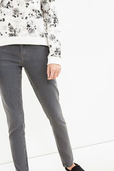Solid colour skinny fit stretch jeans, Grey, hi-res