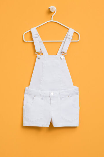 Dungarees in stretch cotton, White, hi-res