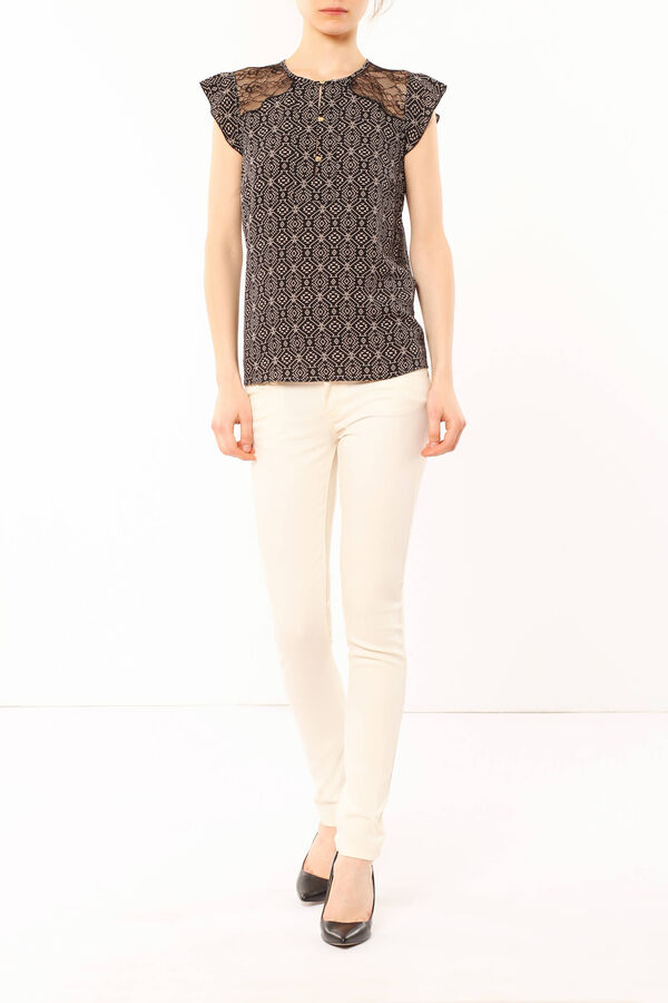 Patterned blouse with lace | OVS