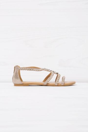 Sandals with diamanté appliqués on the upper, Grey, hi-res