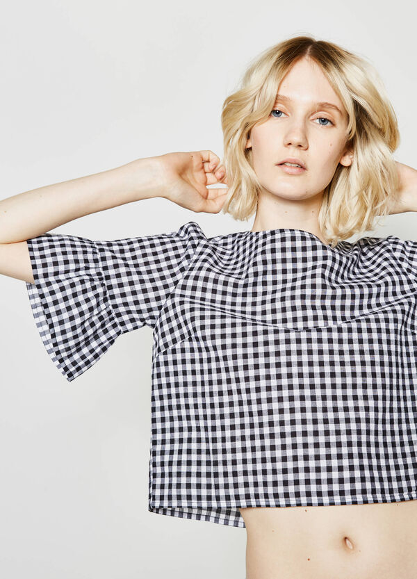 Sleeveless check blouse with flounce   OVS