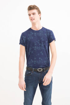 Printed T-shirt in 100% cotton, Dark Blue, hi-res