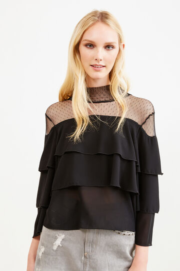Solid colour blouse with flounces and lace, Black, hi-res