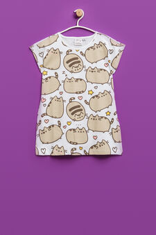T-shirt with Pusheen the cat all-over print, White, hi-res