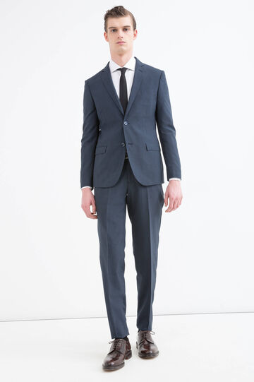 Solid colour elegant suit in slim fit, Blue, hi-res