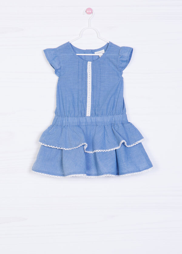 Denim playsuit with frills | OVS