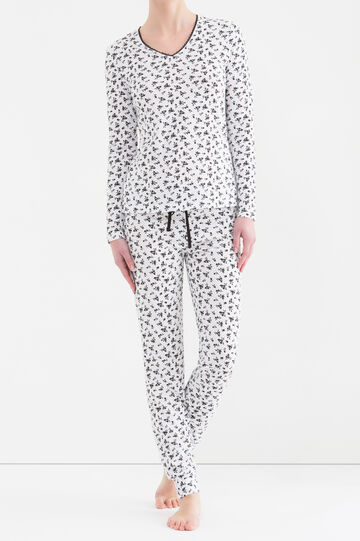 Patterned pyjamas in 100% cotton, White/Black, hi-res
