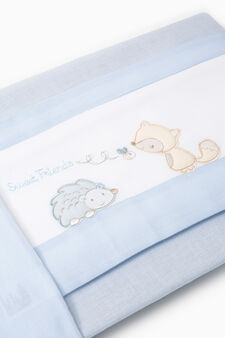 Set of sheets and pillowcase with patches, White/Light Blue, hi-res