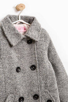Wool coat with asymmetric buttons, Grey, hi-res