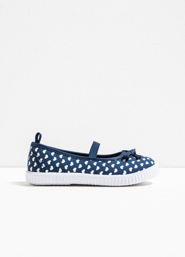 Patterned ballerina flats with elastic band | OVS
