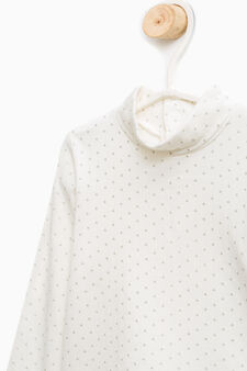 Polka dot T-shirt in stretch cotton, Milky White, hi-res
