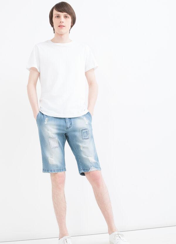 Slim-fit patch denim Bermuda shorts | OVS
