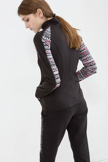 Stretch sweatshirt with patterned inserts, Black, hi-res
