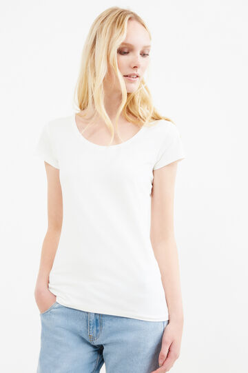 T-shirt cotone stretch tinta unita, Bianco latte, hi-res