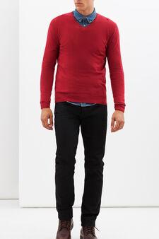 V-neck pullover, Red, hi-res