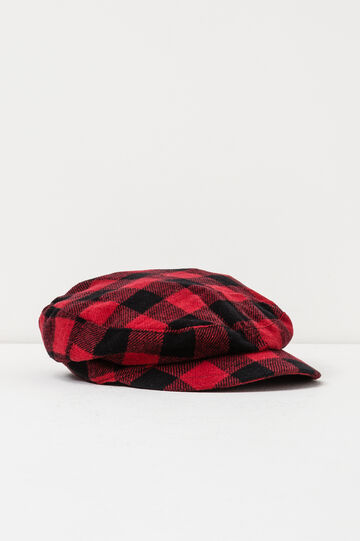 Flat cap with check pattern, Black/Red, hi-res