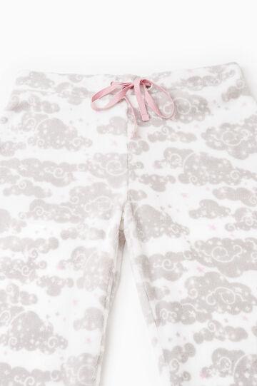 Printed fleece pyjama trousers, Cream White, hi-res