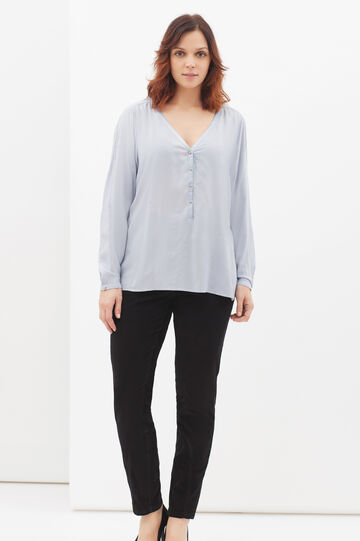 Curvy blouse in viscose blend, Azure, hi-res