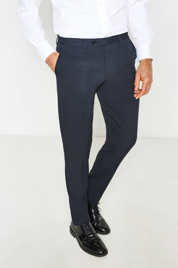 Slim-fit viscose trousers with crease