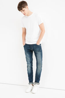 Faded, skinny-fit stretch jeans, Medium Wash, hi-res
