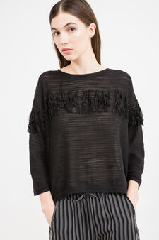 Solid colour pullover with fringe, Black, hi-res