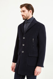 Regular-fit wool blend coat with lapels, Navy Blue, hi-res