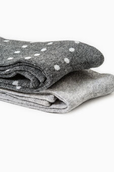 Two-pair pack solid colour and polka dot long socks, Grey Marl, hi-res