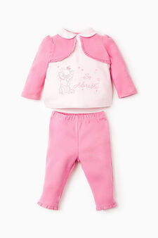 Outfit with Aristocats embroidery, Fuchsia, hi-res