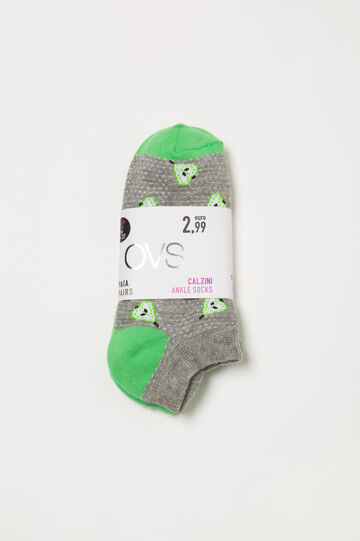 Two-pack socks with contrasting pattern, Grey/Green, hi-res