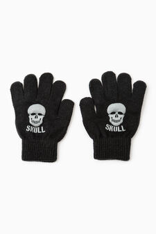 Solid colour gloves with skull print, Grey, hi-res