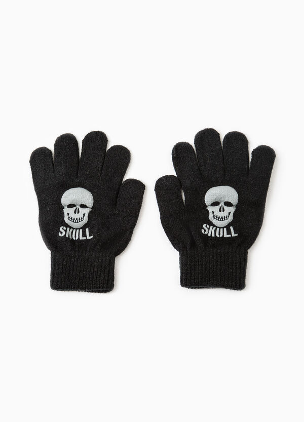 Solid colour gloves with skull print | OVS