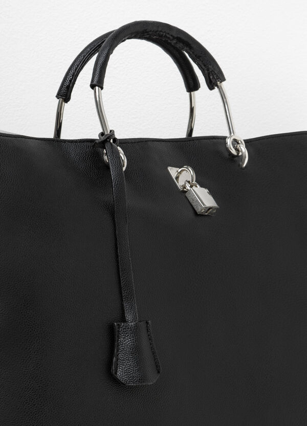 Leather-look bag with lock | OVS