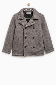 Mélange coat with lapels, Grey Marl, hi-res