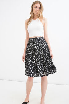 Printed longuette skirt, Black/White, hi-res