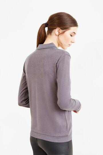 100% cotton V neck polo shirt, Black/Grey, hi-res