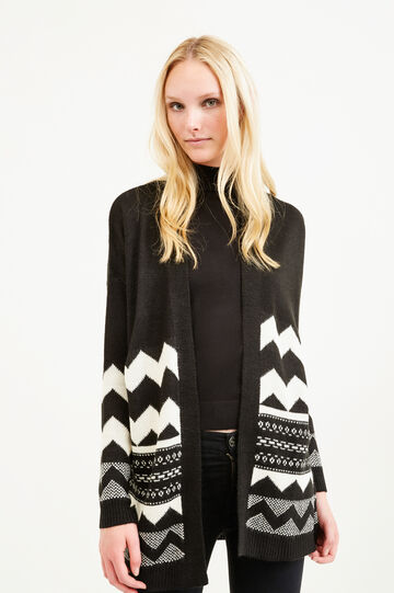 Embroidered cardigan without buttons, Black, hi-res