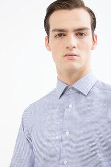 Slim-fit patterned shirt in cotton, Light Blue, hi-res