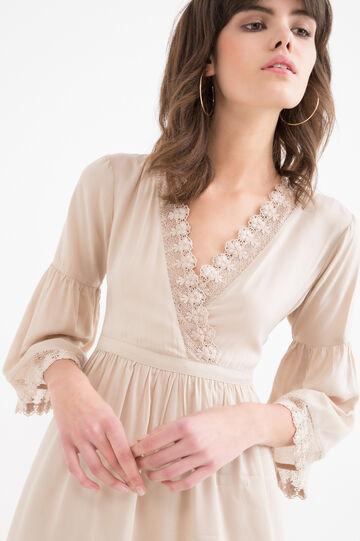 Solid colour 100% viscose dress, Sand, hi-res