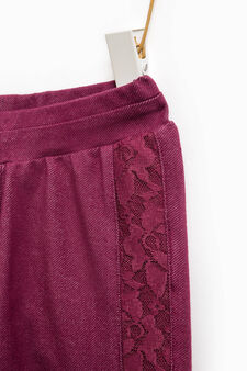 Stretch cotton jeggings with lace, Plum, hi-res