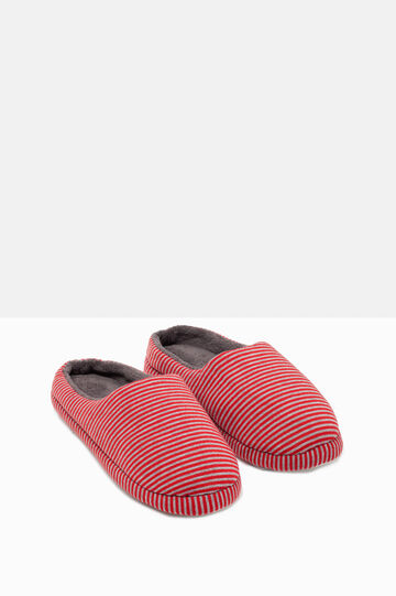 Striped slippers, Grey/Red, hi-res