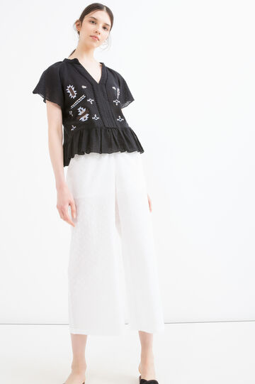 Pantaloni puro cotone tinta unita, Bianco, hi-res