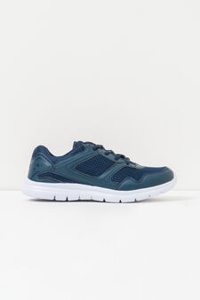 Solid colour sneakers with laces, Navy Blue, hi-res