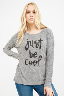 Curvy viscose pullover with sequins and diamantés, Grey Marl, hi-res