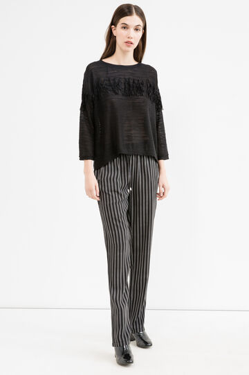 Solid colour pullover with fringe, Black, hi-res