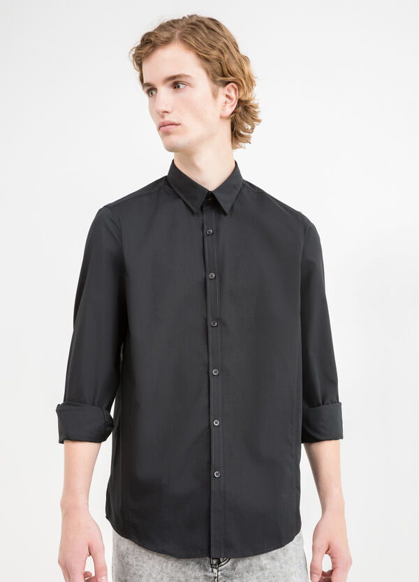 Slim-fit casual shirt in cotton blend | OVS